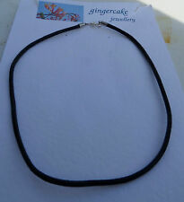 """BLACK LEATHER CHOKER NECKLACE SILVER PLATED FITTINGS 3mm 18 """" 45CM NOT TIGHT"""