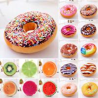 Soft Plush Donut Fruit / Food Cushion Waist Pillow Case Sofa Room Home Seat Mat