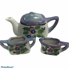 Child's Vintage Japan Lusterware Tea Set  (Purple) W/ Teapot, Creamer,& Sugar