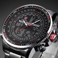 Shark Military LCD Digital Dual Time Date Army Steel Quartz Sport Men Watch Gift