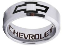 Chevrolet Ring Chevy Wedding Band 8mm Tungsten Silver Sizes 4 - 17