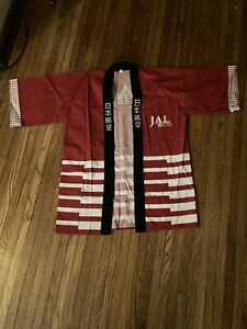 Vtg JAL Japan Airlines Passenger Red Cotton Kimono Airplane Passenger Souvenir