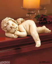 Sleeping Cherub Figurine In Hand Angel Home Decor Shelf Sculpture Mantel Statue