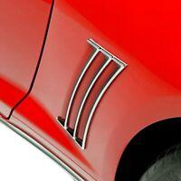 For Chevy Camaro 10-15 Retro USA Chrome Quarter Moldings Set w Black Accents