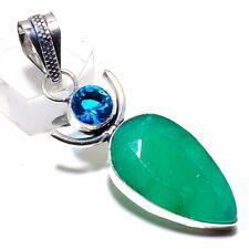"Zambian Emerald, Blue Topaz Gemstone 925 Sterling Silver Pendant 2.17"""