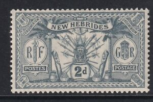New Hebrides 1911 SG20 2d grey Weapons Idols Mounted mint