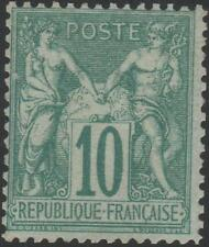 "FRANCE STAMP TIMBRE N° 65 "" SAGE 10c VERT TYPE I 1876 "" NEUF x TB SIGNE  J862"