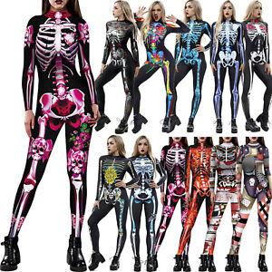 Womens Skeleton Bone Frame Romper Bodysuit Cosplay Jumpsuit Costume Fancy Dress