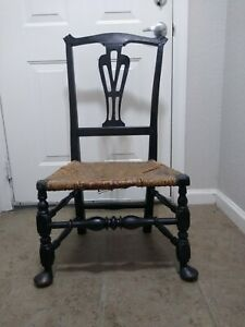 C. 1750 Queen Anne Chippendale Transition Period Chair American Black Paint