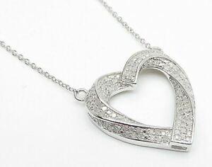 925 Silver - .50 Carat Genuine Diamonds Swirl Love Heart Chain Necklace - N2013