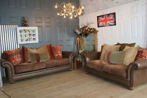 2 Tetrad brown leather and fabric sofas suite grande & midi selling for £5000
