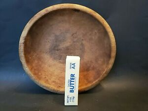 "Wooden Bowl old COUNTRY KITCHEN store FARM dry surface 11"" x 10-1/4"" ANTIQUE old"