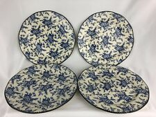 "Wood & Sons Dinner Plates 11"" Country Blue Rose Farmhouse Chic Set of 4 England"