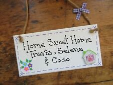 Personalised Home Sweet Home Plaque Sign Shabby House Warming Gift Family Name
