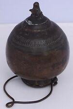 Old India Copper watering vessel pot with cow head spout, unique ornate unusual