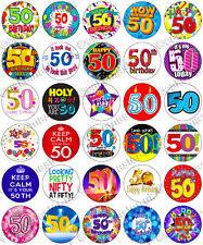 30 x 50th Birthday Party Edible Rice Wafer Paper Cupcake Toppers