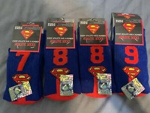 Superman Batman Athletic Socks Team Number (Fits up to size 11 or 12)