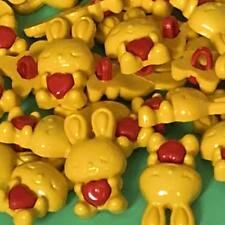 6 x 24 mm Novelty Yellow Rabbit Buttons with Red Heart #1019