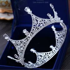 Luxury King Full Round Crown Drip Crystal Wedding Bridal Party Pageant Prom