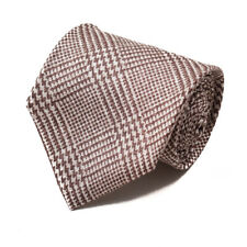 New $230 ISAIA 7-Fold Brown and White Glen Check Print Silk Tie