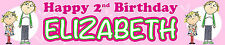 2 x CHARLIE AND LOLA PINK PERSONALISED BIRTHDAY BANNERS