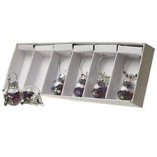Heaven Sends Christmas Set 6 Coloured Bauble Glitter Wine Glass Charms DDG120