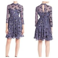Rebecca Taylor Exclusive Size 8 Alyssum Floral Dress Blue Silk Party