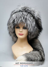 Premium SILVER FOX Fur Hat tail Davy Crockett Chapka Pelzmütze Silberfuchs Mütze