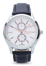 Geneva Platino Mujer Cuarzo Acero Inoxidable / Cuero Sintético Negro Reloj 10008