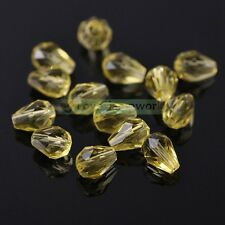 30/100pcs 5X7mm Teardrop Faceted Spacer Loose Crystal Glass Beads Jewelry Making