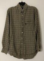ERMENEGILDO ZEGNA Mens Button Down Long Sleeve Shirt PLAID Cotton Blend Size M/L