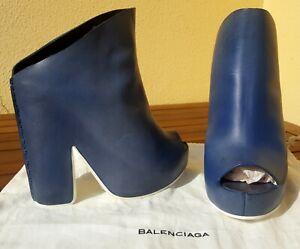 BALENCIAGA leather platform peep toe blue booties sz 38 new