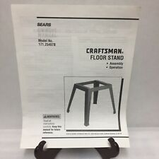 Craftsman Floor Stand Assembly Operation Instruction Manual ONLY 171.29497B