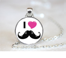 Love Mustache PENDANT NECKLACE Chain Glass Tibet Silver Jewellery