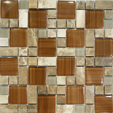 1SF-Square Pattern Brown Hand Paint Glass & dark emperador Marble Mosaic Tile