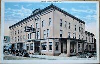 Dixon, IL 1920s Postcard: Hotel Dixon, Cars - Illinois Ill