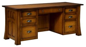 Amish Mission Craftsman Executive Computer Desk Solid Wood Home Office