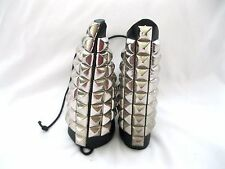 Pair of Black Leather Studded Arm Wrist Cuff Band, METAL-PUNK-GOTHIC-BIKER-NEW!