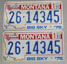 1976 Bicentennial Montana License Plate Pair 26-14345 Embossed Jan. 1991 Sticker