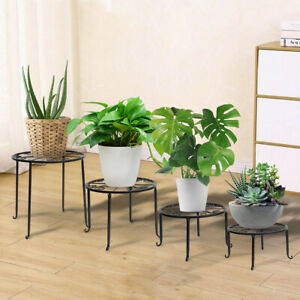 4 Stück Blumenständer Metall Pflanzenhalter Blumenhocker Retro Dekorativ DE