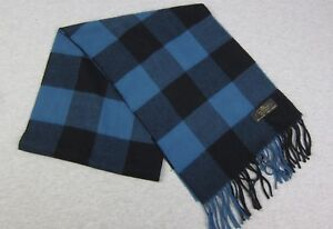 Hand Tailored Blue & Black Buffalo Check Scarf 100% Cashmere Germany 12x64