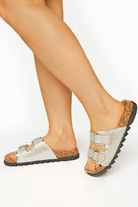 Yours Women's Silver Sparkle Footbed Sandal In Wide Fit Silver Size