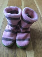 GIRLS JOULES JUNIOR PINK GREY GREEN STRIPE SLIPPERS BOOTS SIZE SMALL 8-10