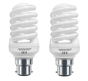 2 x Energy Saving 25W Spiral Light Bulb CFL B22 Bayonet 25W = 125W Warm or Cool
