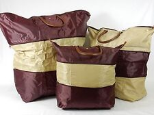 Set of 3 Expandable Totes, Small-Med-Large, GOLD/MAROON, Nylon, Leather Handles