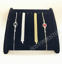 Horizontal Black Velet Necklace Pendant Chain Display Stand Storage Holder Hooks