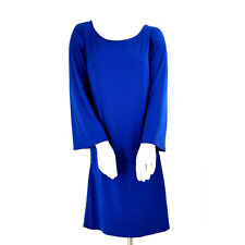 Moda International Dress M Blue Bell Sleeve Drop Waist Slinky A-Line Career