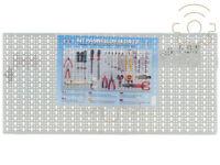 pannello forato con kit 40 ganci in lamiera bianca cm 46x98 bacheca attrezzi