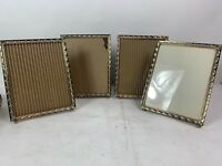 """Lot Of 4 Vintage Brass Footed Embossed Gold Metal Picture Frame 8 x 10"""" Matching"""