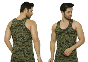 Camouflage Mens Vest Army Camo Military Sleeveless Top Gym Athletic Sport Cotton